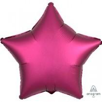 Globo Metalizado Rosa Profundo Satinado Estrella de Lujo - 45cm