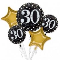 Bouquet de Globos de Cumpleaños 30 en 3D Celebración Sparkling