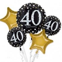Bouquet de Globos de Cumpleaños 40 en 3D
